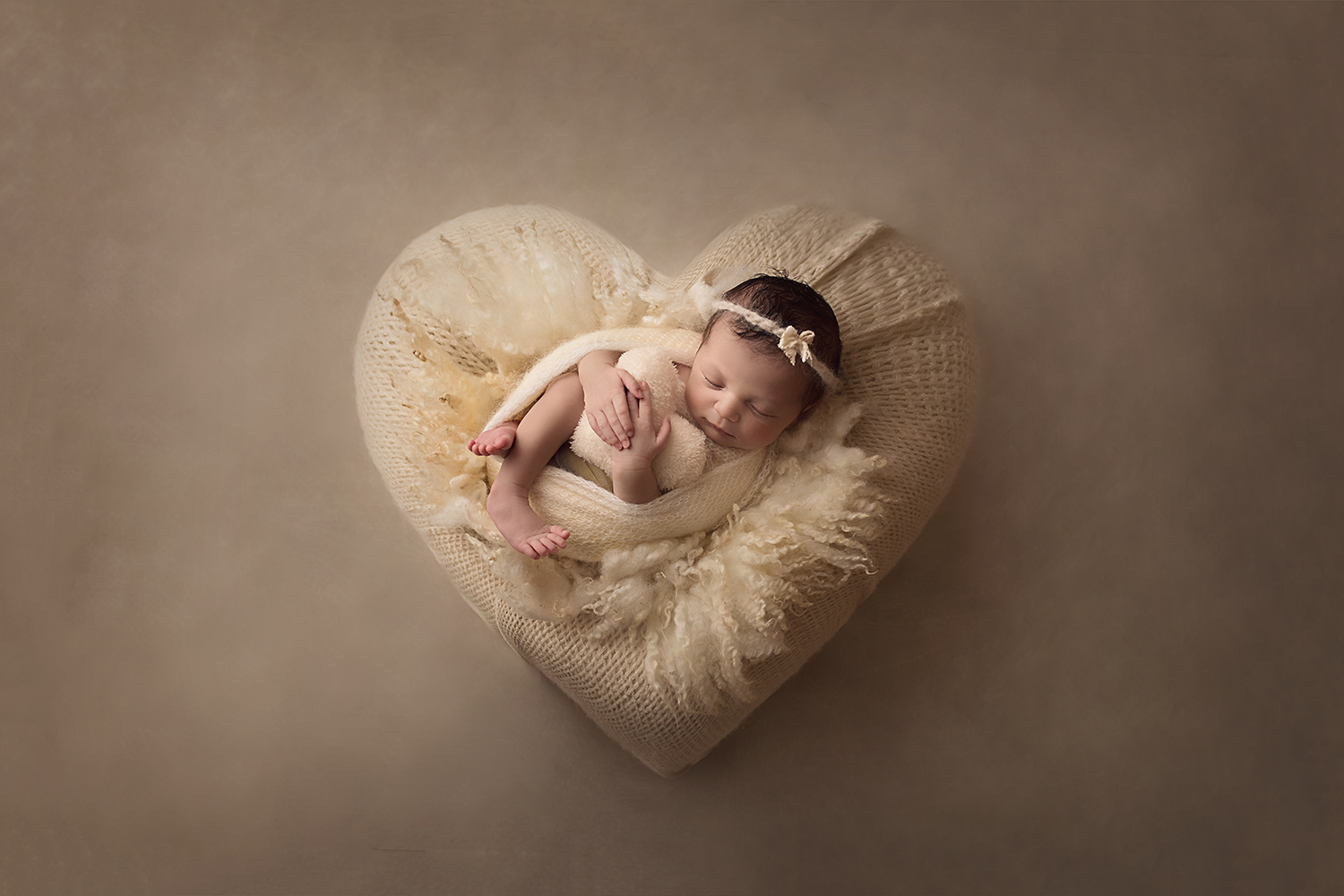 Fort Benning Ga Newborn Photographer Columbus ga newborn photographer cream heart shot from above
